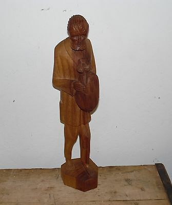 "Pre-Owned Vintage Hand Carved 16"" Tall Wooden Figure From Ecuador"