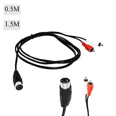 0.5/1.5M 5 PIN MIDI DIN PLUG to 2 RCA PHONO MALE PLUGS AUDIO CABLE LEAD ADPATERS