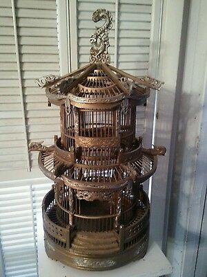 "Antique Vintage Wood Octagon Pagoda 26"" Tall Gilded Birdcage"