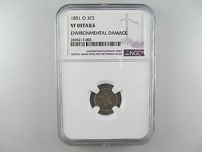 """1851-O Three Cent Silver Piece (Trime), NGC VF -- THE ONLY """"O"""" MINTED TRIME!"""