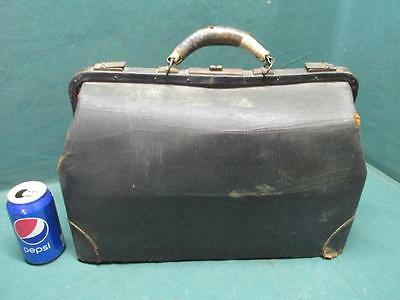 Antique Vintage Genuine Cowhide Leather Doctor Doctors Medicine Carry Bag
