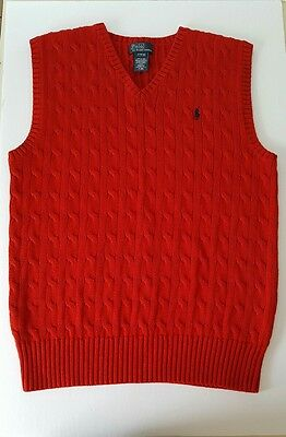 Pre-owned: Ralph Lauren Sweater Vest Boy's Size Large (14-16) Red w/Blue Pony