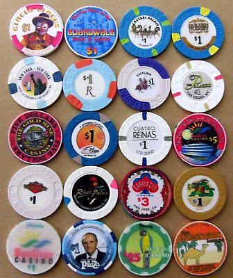 Lot 20 CASINO CHIPS from all over $1, $3, $5, $25 Las Vegas many OLD & OBSOLETE
