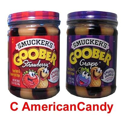 1 Glass Smuckers Goober GRAPE / STRAWBERRY (13,71€/kg)
