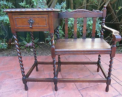 Original Solid English Oak barley twist Telephone Table / Hall Table with seat.