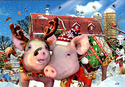 Adorable Best Dressed PIGS Christmas Cards by Leanin Tree - USA (10pk) FUNNY