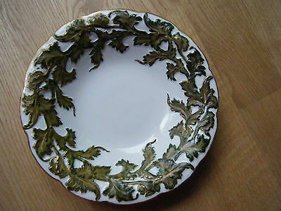 Antique Meissen Porcelain Hand Painted Scalloped Rim Charger Plate, stamped
