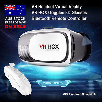 VR Headset 2.0 Virtual Reality VR BOX Goggles 3D Glasses + Bluetooth Remote