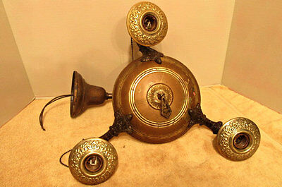 Antique Brass 3 Socket Chandelier Ceiling Light fixture Deco Vintage