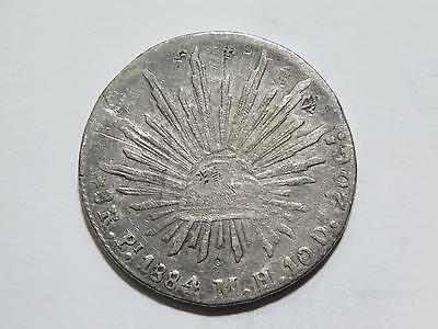 Republic Mexico 1884 Pi Mh 8 Reales Cap & Rays Chop Silver Coin Collection Lot