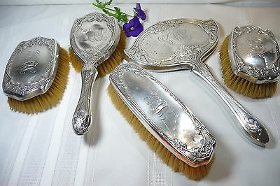 Antique F&B Art Nouveau Sterling Silver Vanity Grooming Set Foster & Bailey 1898