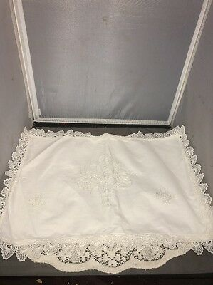 Antique Linen Pillowcase Cover Embroidered Flower Basket Fold Over Opening Lace