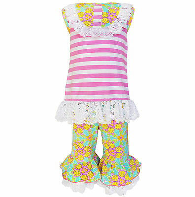 AnnLoren Baby Girls sz 12/18 mo Boutique Easter Stripes & Floral 2-Piece Outfit