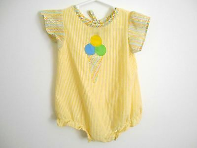 VINTAGE Ice Cream Cone Bubble Romper Suit One Piece Baby Girl Size 9-12 Months