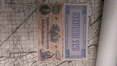 "1862 Confederate States $100 One Hundred Dollar Bill Civil War Note  ""facsimile"""