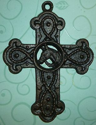 Vintage Cast Iron Christian Cross with Horse Design