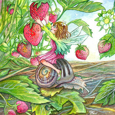 "Fantasy Watercolour Painting Fairy Art ""Strawberry Fairy"" by Patricia"