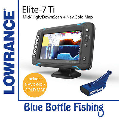 Lowrance Elite-7 Ti Mid/High/DownScan with AUS Gold Nav Card 50XG
