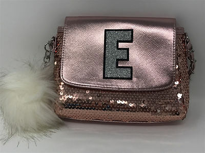 """Justice for Girls Purse Rose Gold Sequin Sparkle Initial """"E"""" NWT!"""