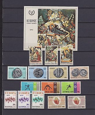 s16542) CYPRUS  MNH** 1972  Complete year sets 15v +s/s