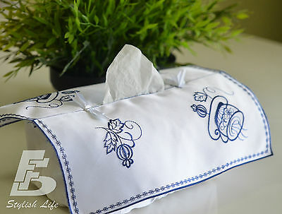 Tissue Box Cover, Embroidered  Flowers, FFDWY021