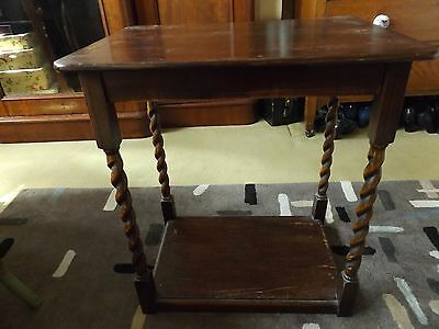 Antique Oak Side Table with Barley Twist Legs