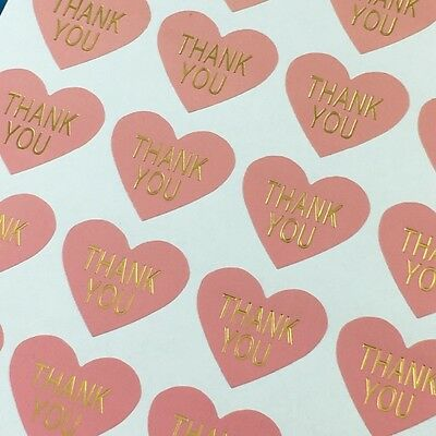 Heart Paper Labels 'THANK YOU' Gift Food Craft Stickers Seals PINK & GOLD