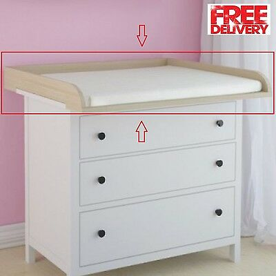 Baby changing table top compatible with 'Hemnes Ikea' chest of drawers in beech