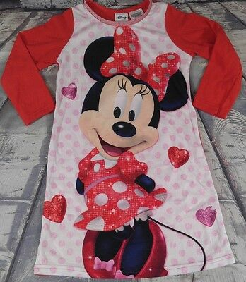Disney Minnie Mouse Toddler Girl's 3T Red/White/Pink Long Sleeve Nightgown