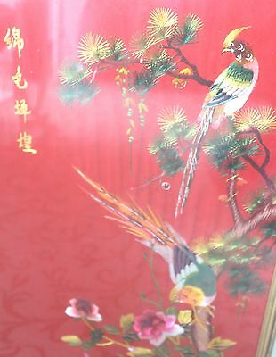 Large 1960's Japanese Red Silk Embroidery with Foliage & Birds 54cm