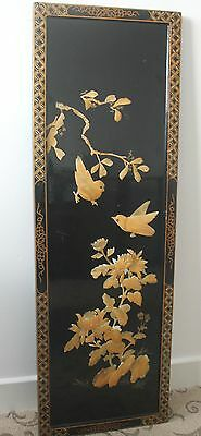 Large Vintage Japanese Floral Mother of Pearl Wall Panel 96cm c.1960
