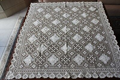 Vintage Cream & Deeper Cream Cotton Knotted Lace Small Tablecloth 78x75cm #204