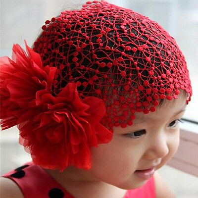 Baby Girls Lace Hat Big Flowers Sewing Cap Headband accessories 1-6Y Red