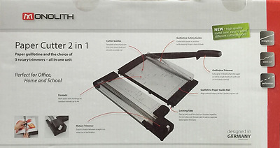 Monolith Paper Cutter & Guillotine 2 in 1 With 3 Rotary Trimmers