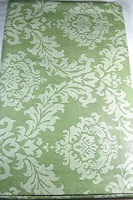 Green Scroll Flannel Back Vinyl Tablecloths Assorted Sizes including XL