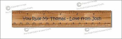 Personalised Engraved Wooden Ruler -  Teacher's Gift, Father's Day Gift.