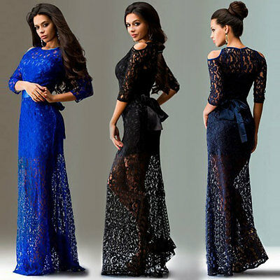 Lace Long Formal Wedding Evening Ball Gown Party Prom Bridesmaid Dress Size 8-20