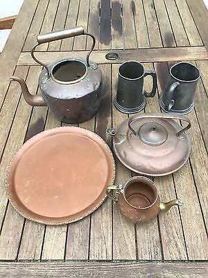 Antique Copper, Brass And Pewter, Tankard, Kettle And Plate