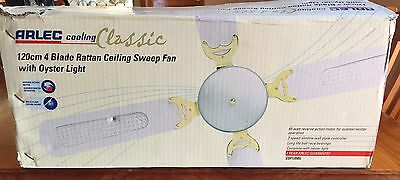 ARLEC 120cm 4 Blade Rattan Ceiling Sweep Fan with Oyster Light CSF120BL