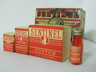 TIN 1940s WWII SENTINEL JUNIOR ACE FIRST AID MEDICINE KIT PILOT VINTAGE AIRPLANE