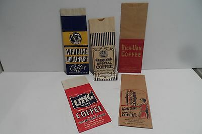 5 Lot Vintage NOS 1Lb Paper Advertising Coffee Sacks!! Colorful!! Beauties!!! !!
