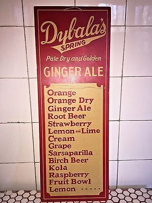 Vintage 1920s 1930s Dybala's Spring Soda Ginger Ale Red Paperboard Sign