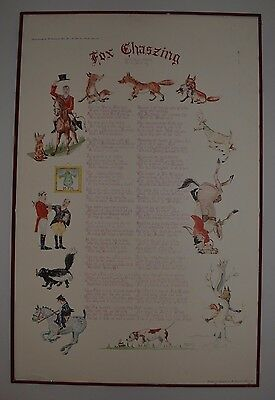 Fox Chaszing Water Color Poster Colin Lofting 58' Crossroads of Sports Hunt Dogs