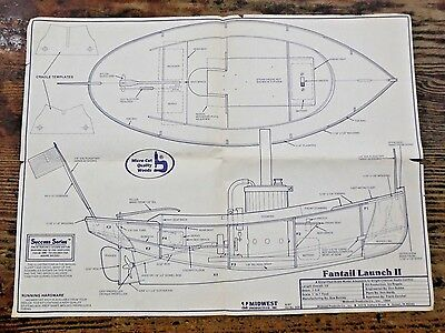 VTG Midwest Fantail Launch II Steam Wood Boat Kit No 958 Illustrated PLANS ONLY