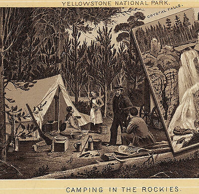 Camping c. 1890's Yellowstone National Park photo-style Jersey Coffee Trade Card