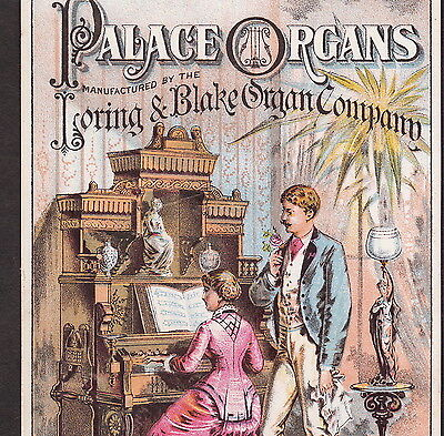 Palace Organ Loring & Blake D Lothrop Dover NH Victorian Advertising Trade Card
