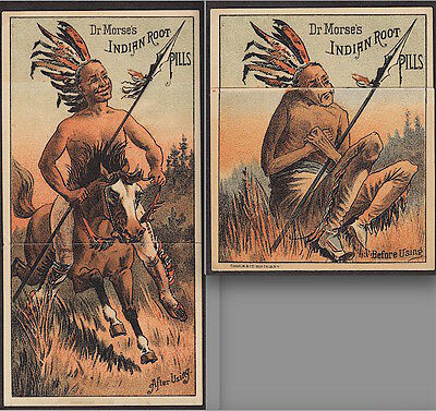 Dr Morses Indian Root Pills Metamorphic Before & After Advertising Trade Card