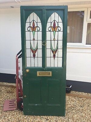 Stained Glass Victorian Front Door Period Old Reclaimed Antique Leaded Wood 1870