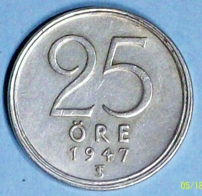 Sweden 25 Ore 1947 Ts Extra Fine Silver Coin