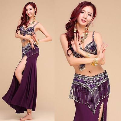 Belly Dance .Costume Outfit Set.Bra Top+Hip Scarf.New never worn.